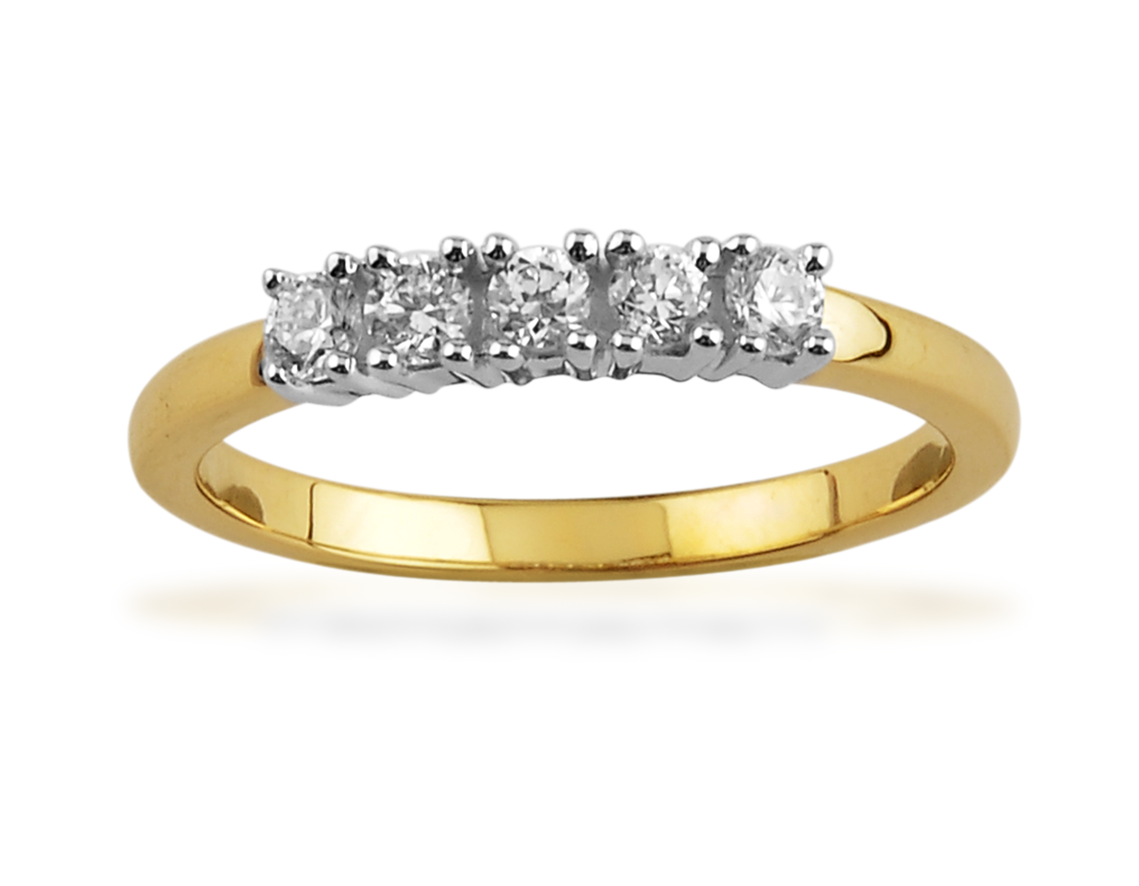 9ct Yellow Gold 0.33ct Diamond Five Stone Ring Size: P