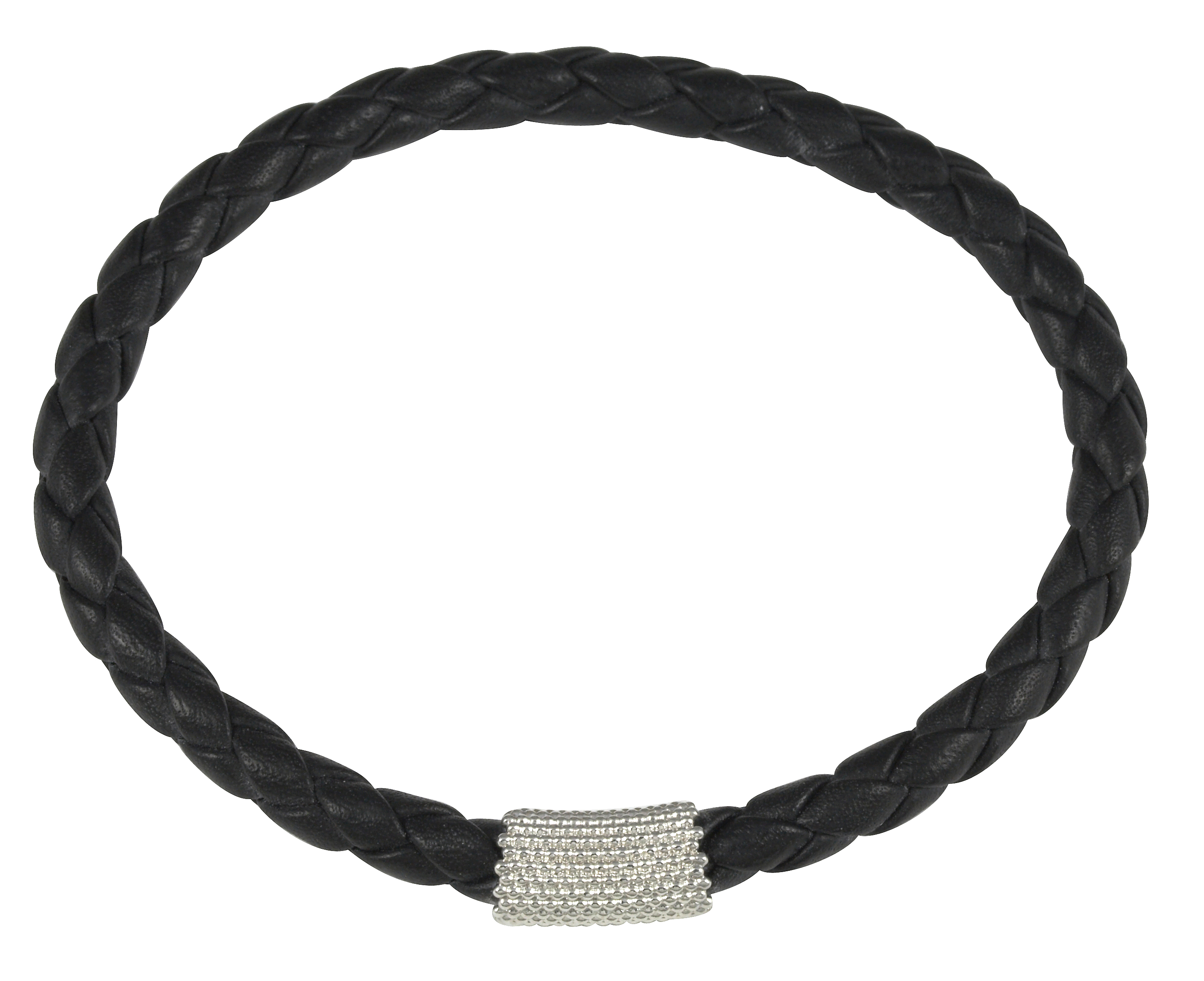Cai Jewels Rhodium-plated Silver Black Leather Bangle