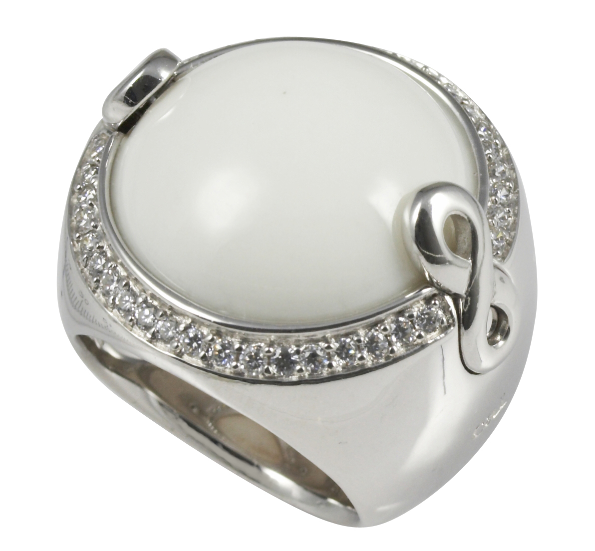 Cai Jewels Rhodium-plated Silver White Agate with CZ Ring Size: O