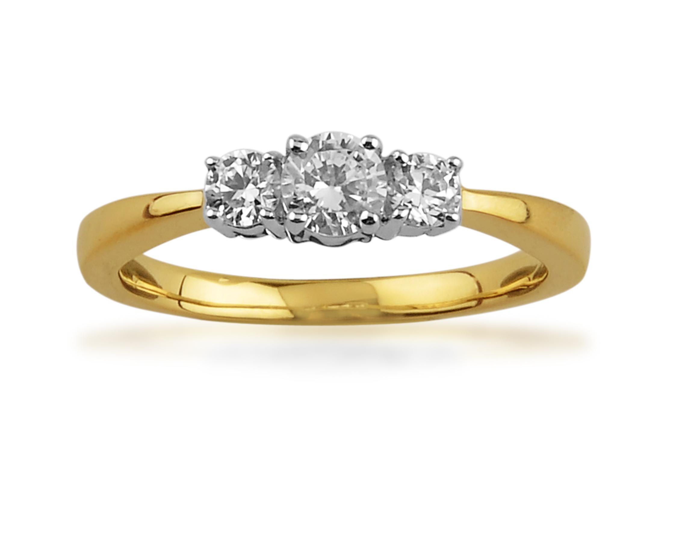 9ct Yellow Gold 0.50ct Diamond Three Stone Ring Size: L