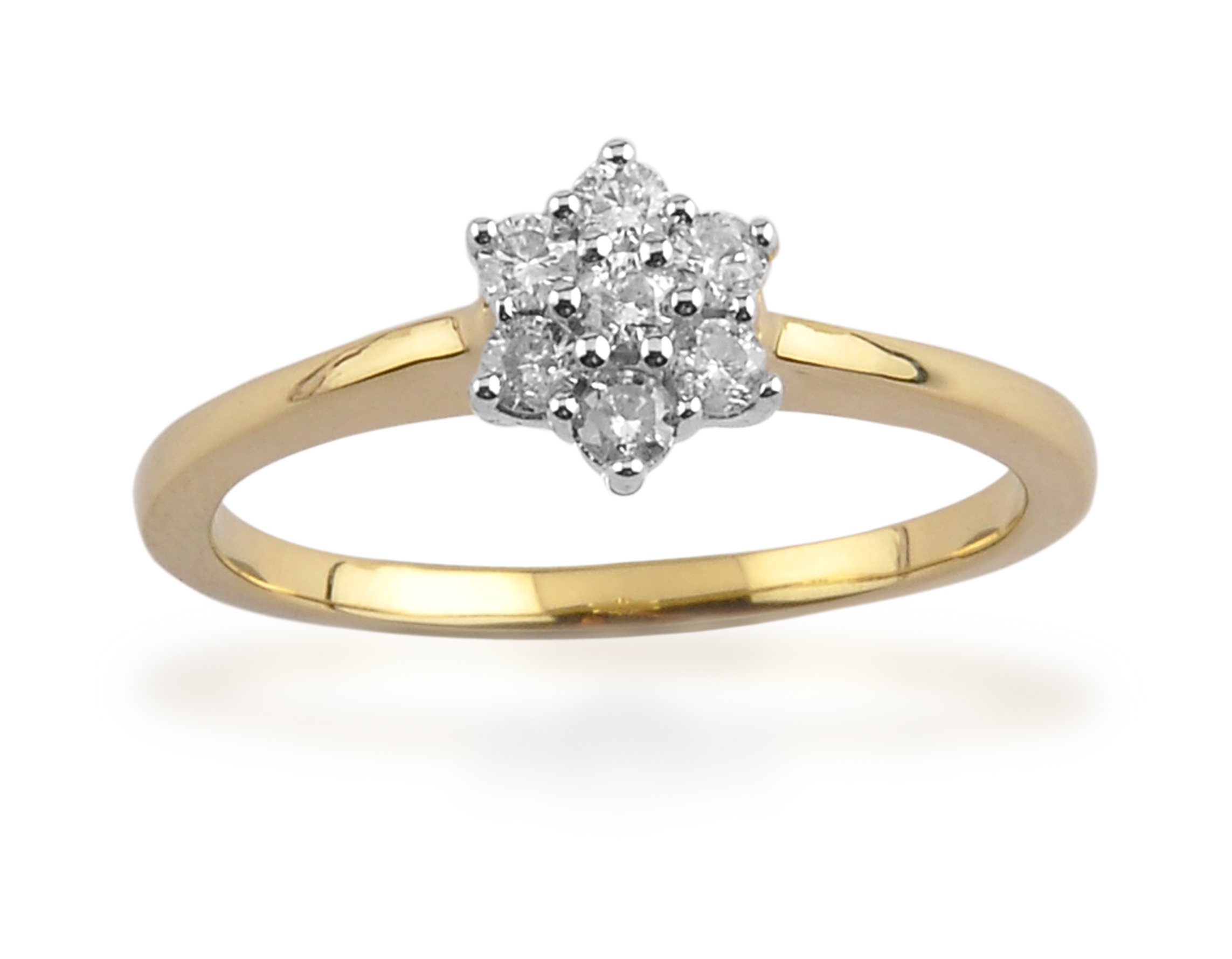 9ct Yellow Gold 0.25ct Diamond Floral Cluster Ring Size: I