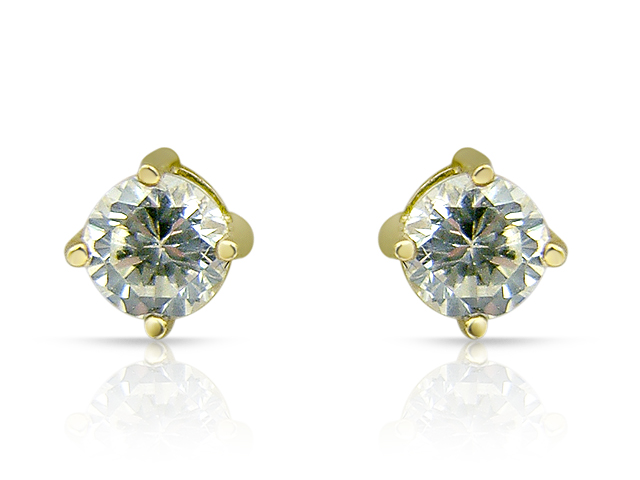 9ct Yellow Gold 0.65ct Cubic Zirconia Round Stud Earrings