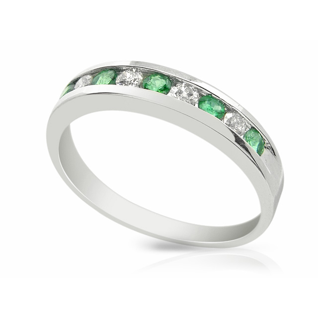 9ct White Gold 0.22ct Natural Emerald & Diamond Half Eternity Band Ring Size: X