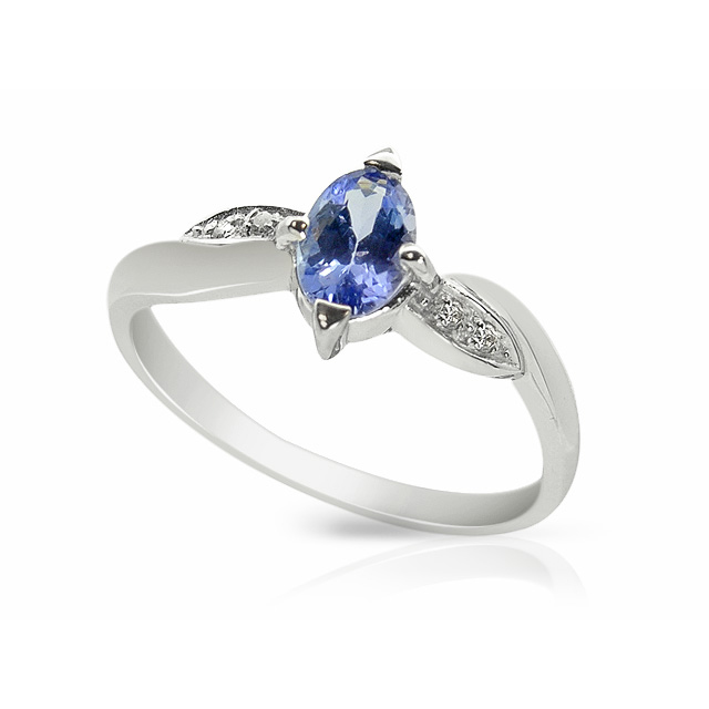 9ct White Gold 0.43ct Tanzanite & Diamond Single Stone Ring Size: M