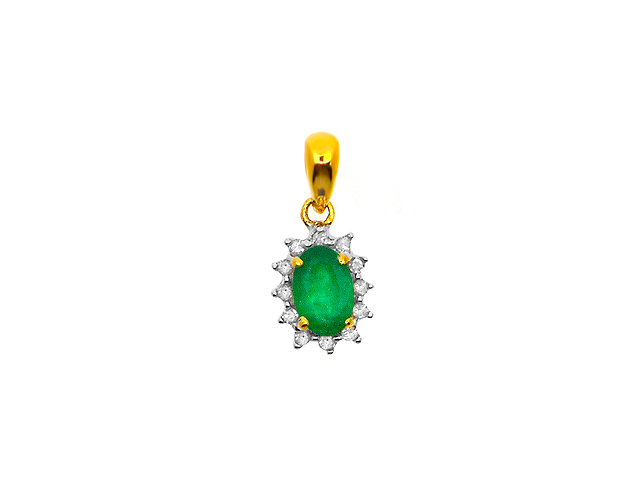 9ct Yellow Gold 0.42ct Natural Emerald & Diamond Oval Cluster Pendant