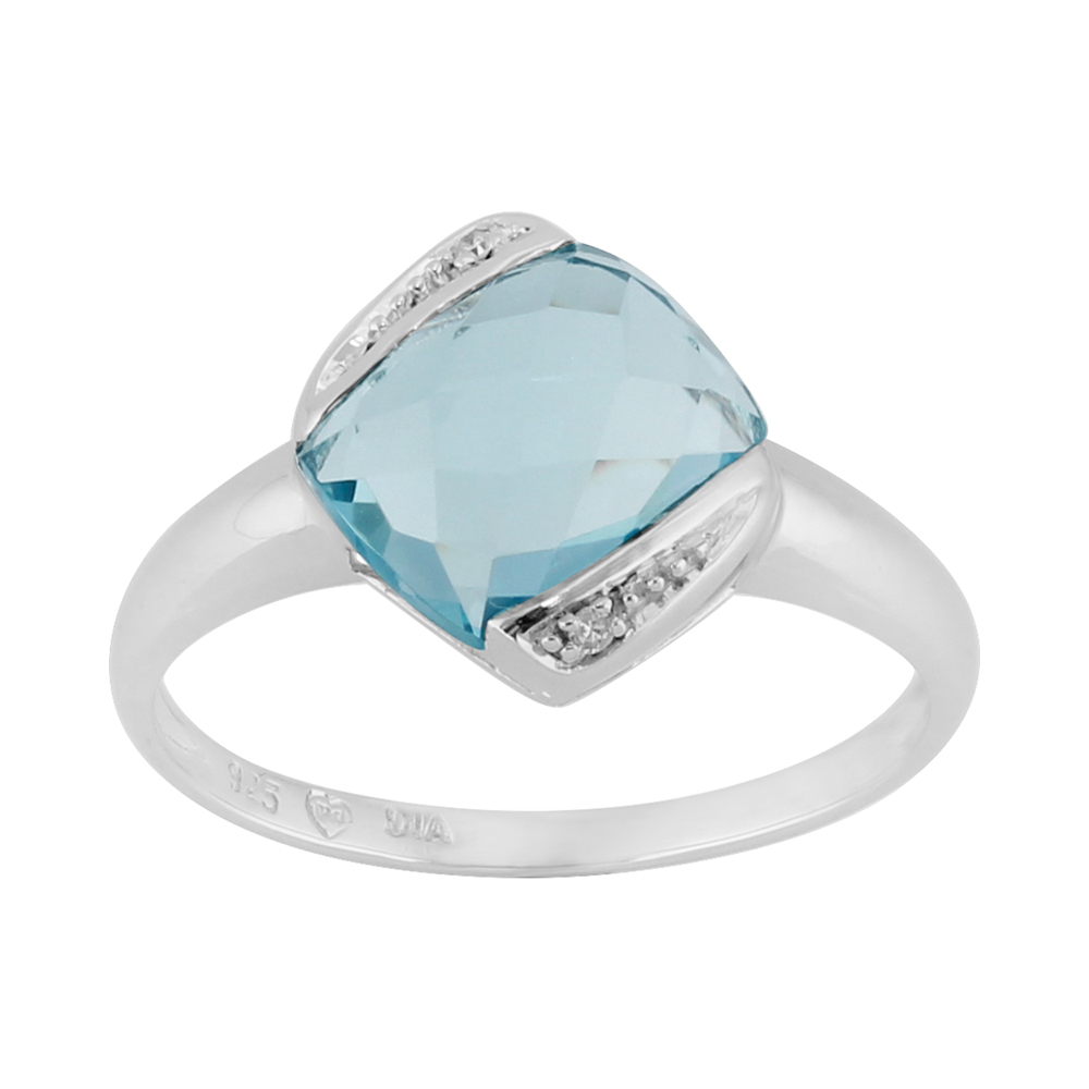 Sterling Silver 2.3ct Cushion Cut Natural Blue Topaz & Diamond Single Stone Ring