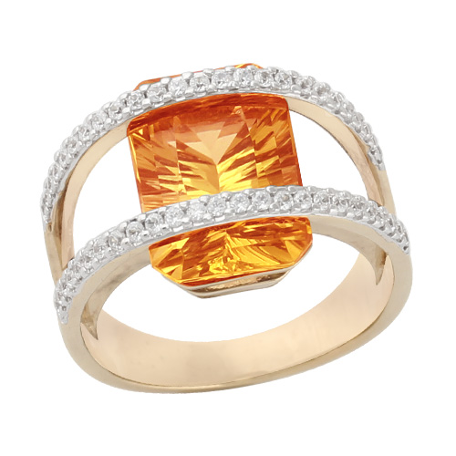 9ct Yellow Gold 6.50ct Concave Citrine Facet & Diamond Ring Size: V