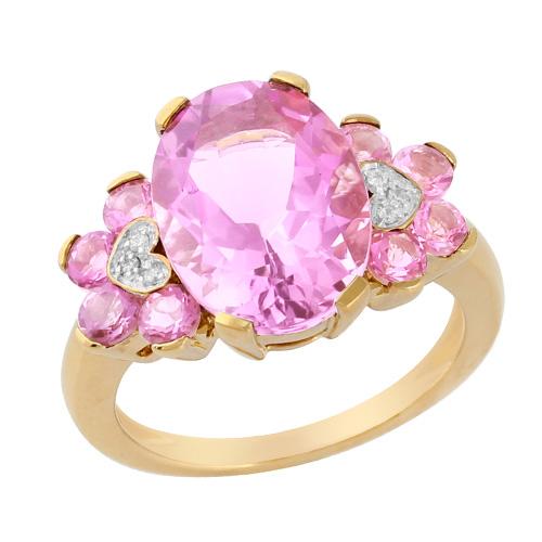 9ct Yellow Gold 6.00ct Kunzite, Pink Tourmaline & Diamond Ring Size: H