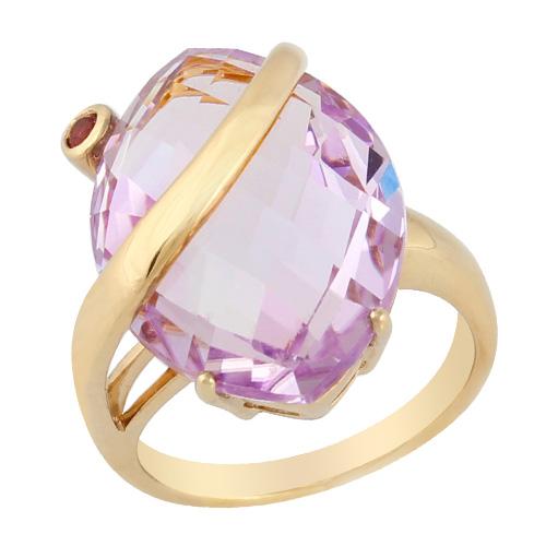 9ct Yellow Gold 15.00ct Pink Amethyst & Pink Tourmaline Ring Size: Q
