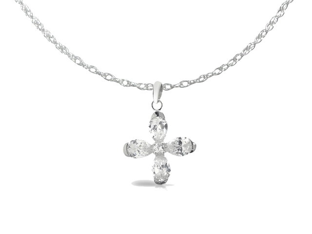 Sterling Silver 4.82ct White Cubic Zirconia Cross Pendant on Chain