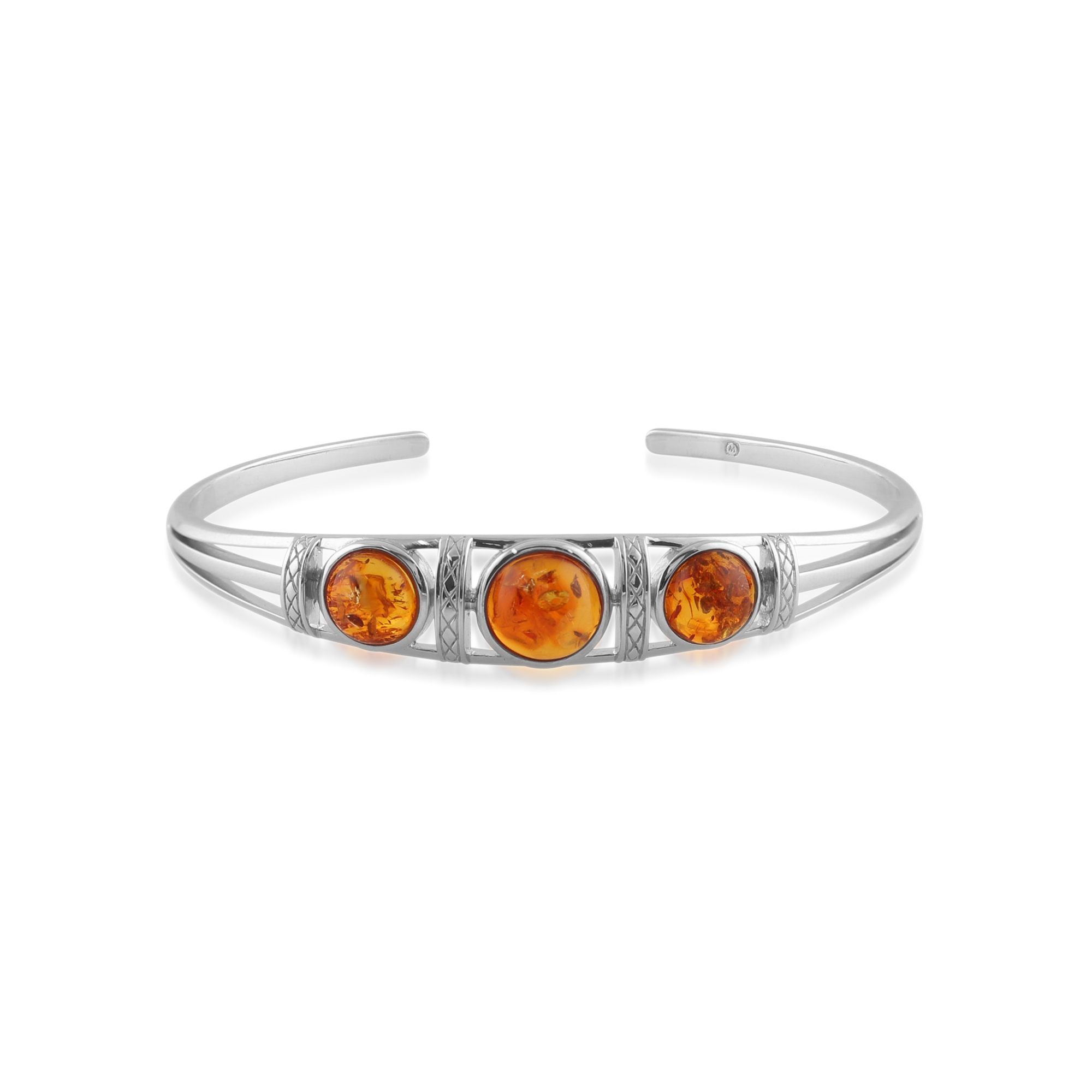 925 Sterling Silver 3.10ct Amber Trilogy Bangle Bracelet
