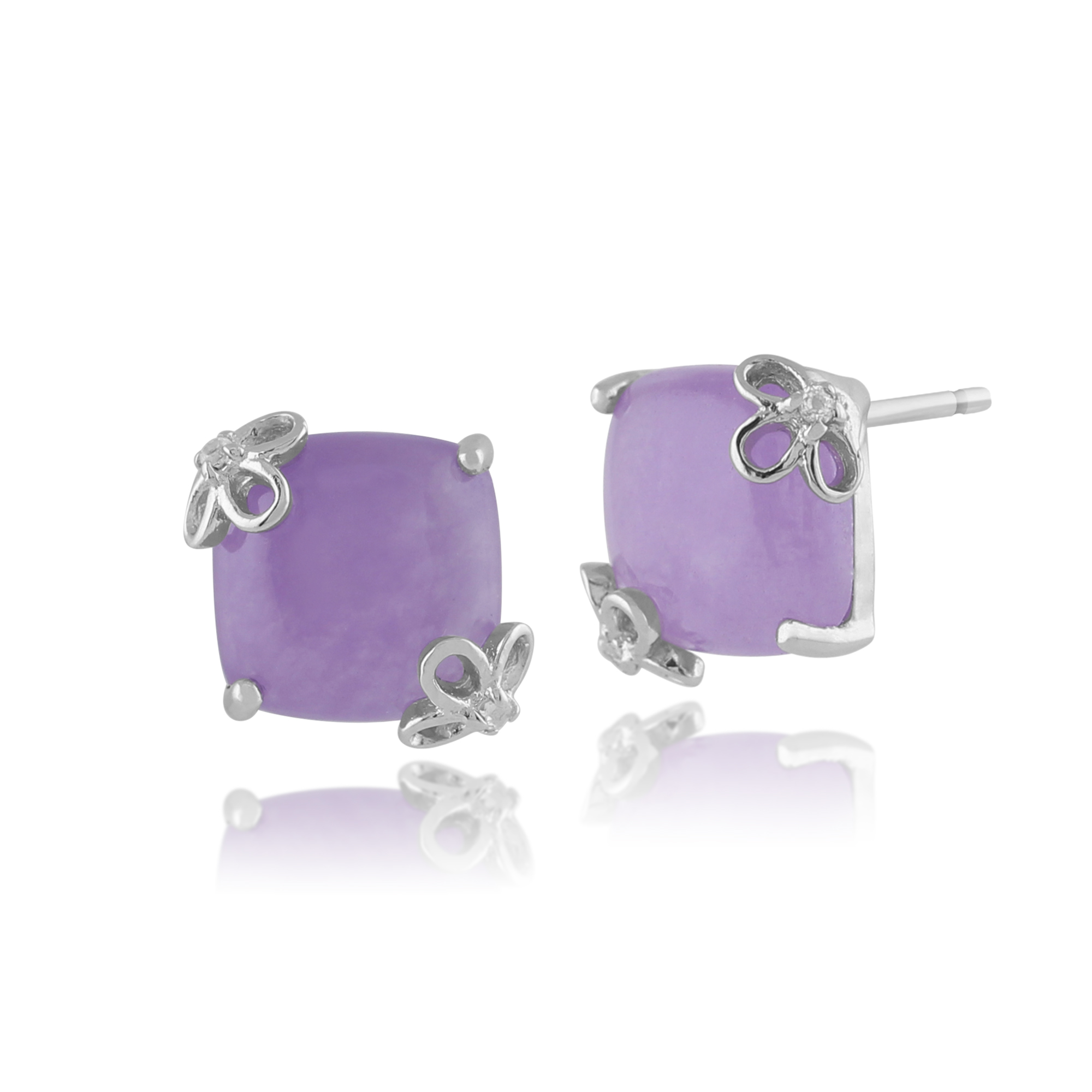 Gemondo 925 Sterling Silver 5ct Lavendar Jade & White Topaz Square Stud Earrings