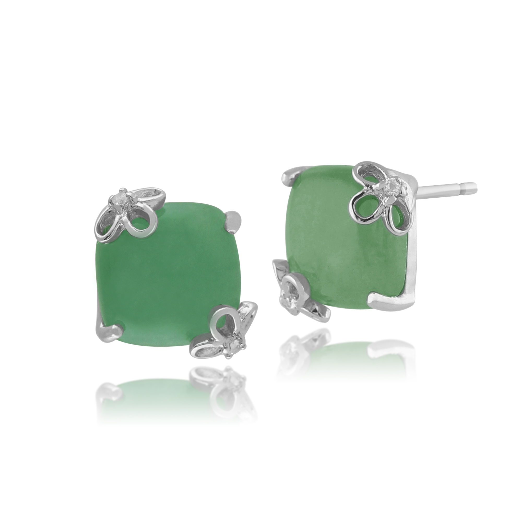 Gemondo 925 Sterling Silver 5ct Green Jade & White Topaz Square Stud Earrings