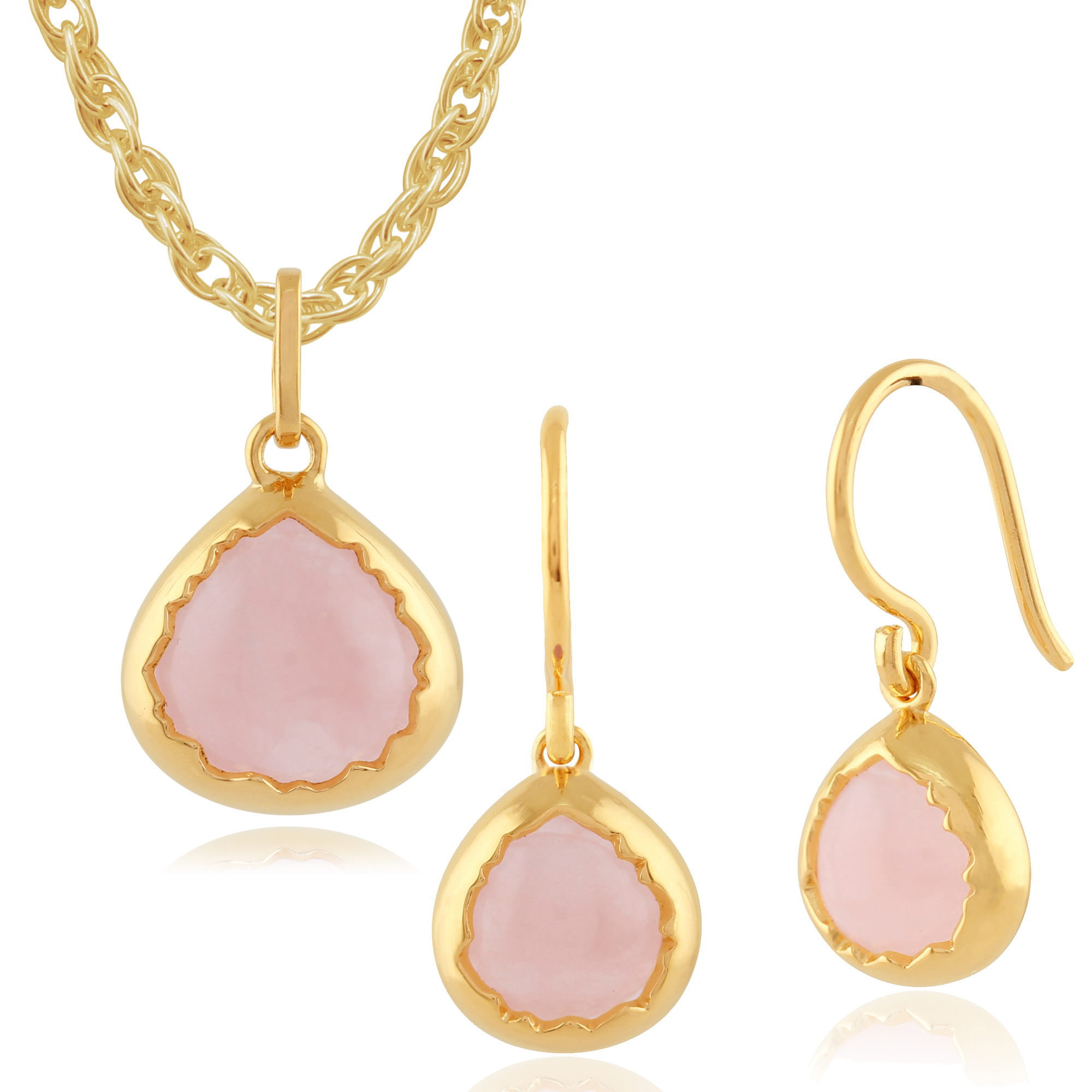 Rose Quartz 'Diantha' Pastel Gold Plated Silver Drop Earring & 45cm Necklace Set