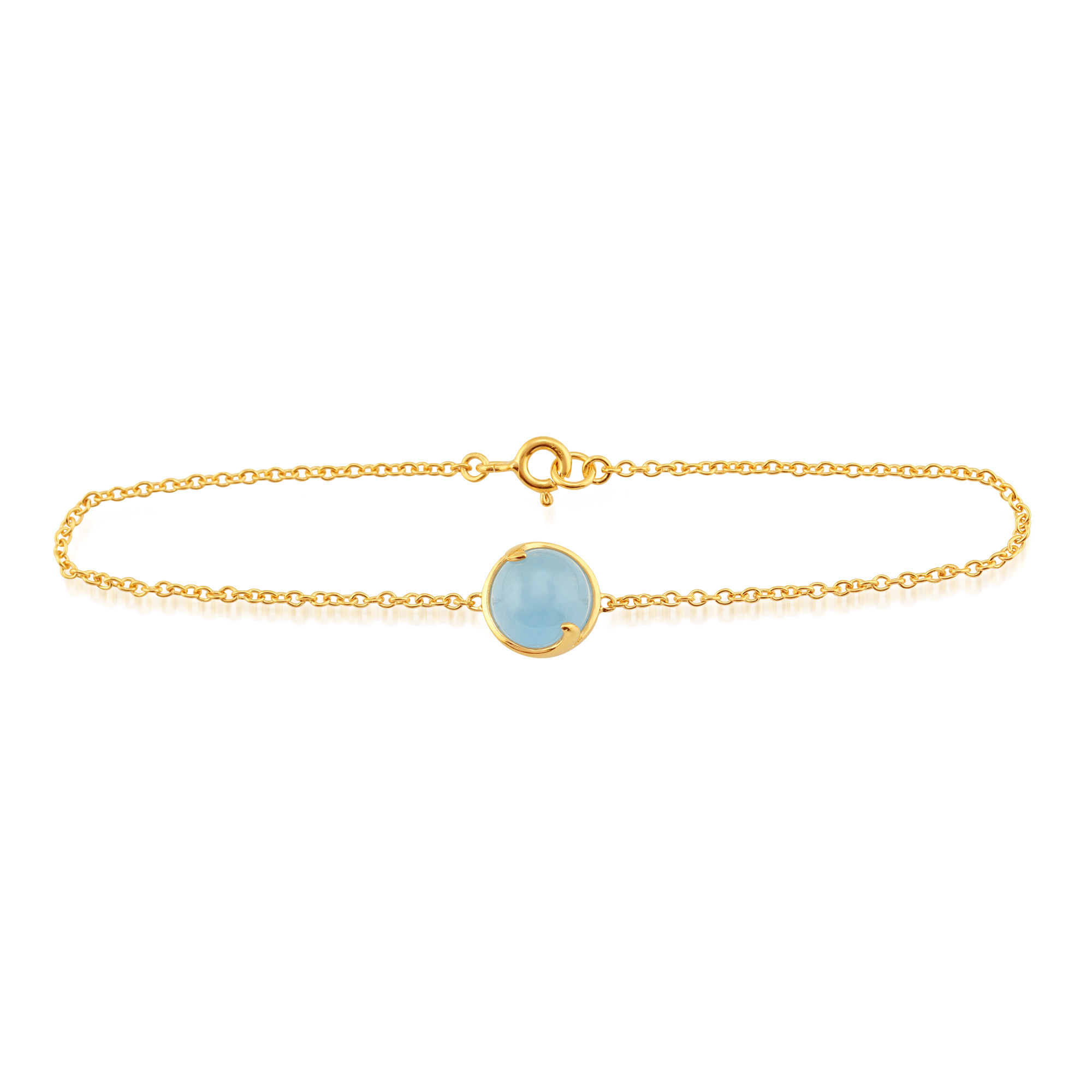 Blue Jade 'Vita' Pastel Bracelet in 9ct Yellow Gold Plated Sterling Silver