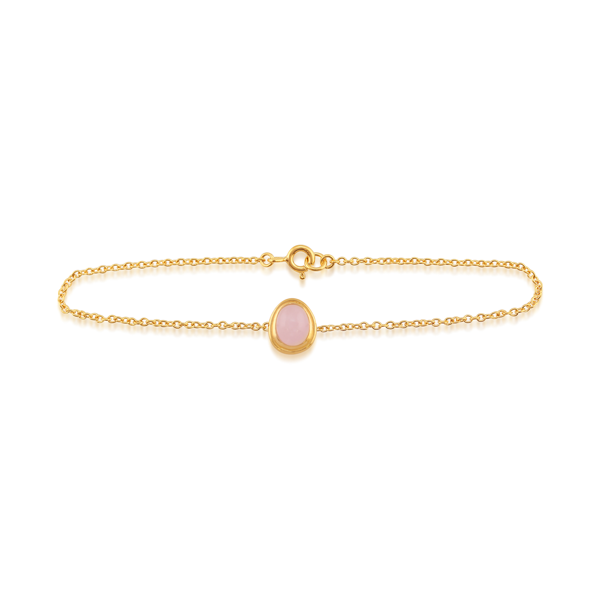 Rose Quartz 'Tara' Pastel Bracelet in 9ct Yellow Gold Plated Sterling Silver