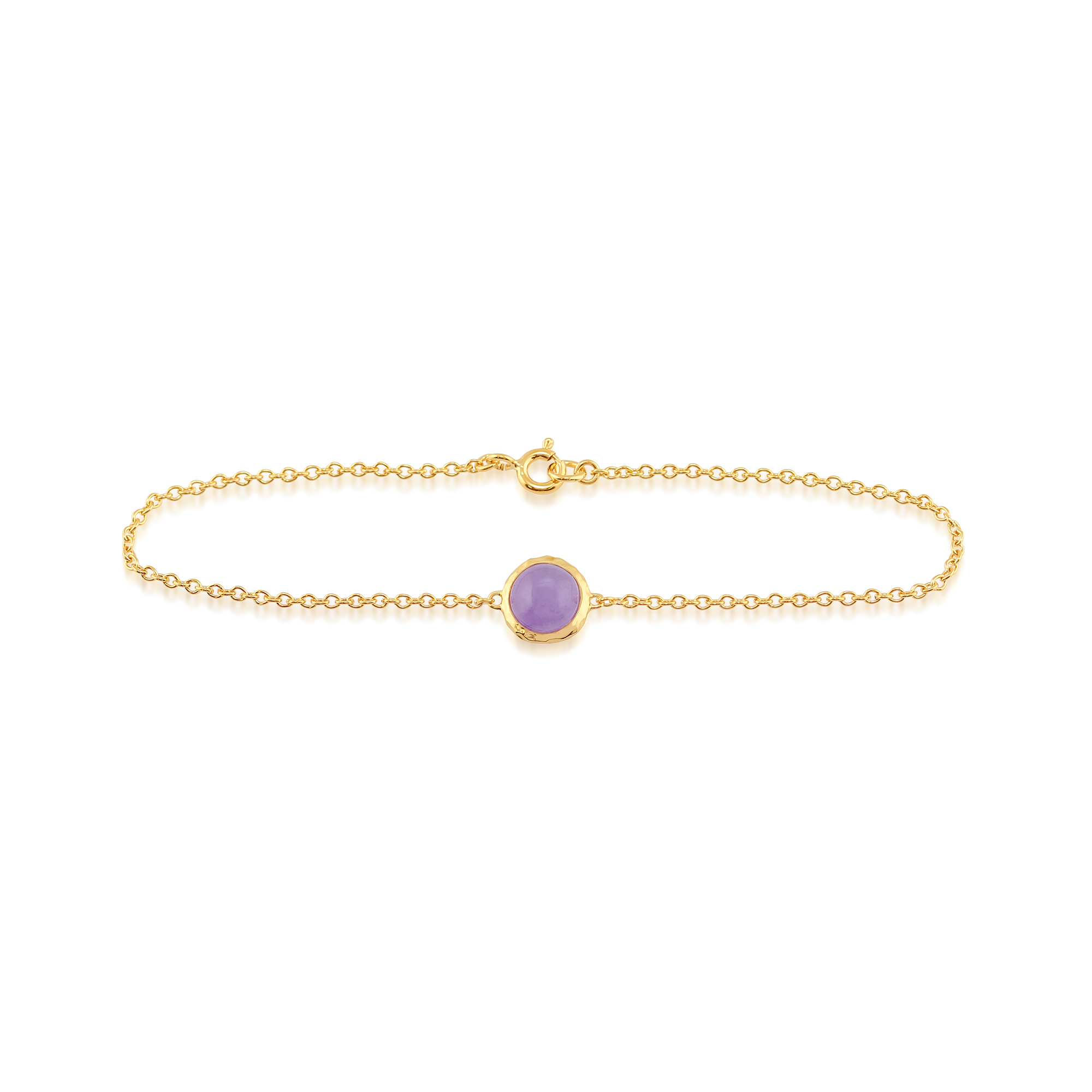 Lavender Jade 'Irida' Pastel Bracelet in 9ct Yellow Gold Plated Sterling Silver