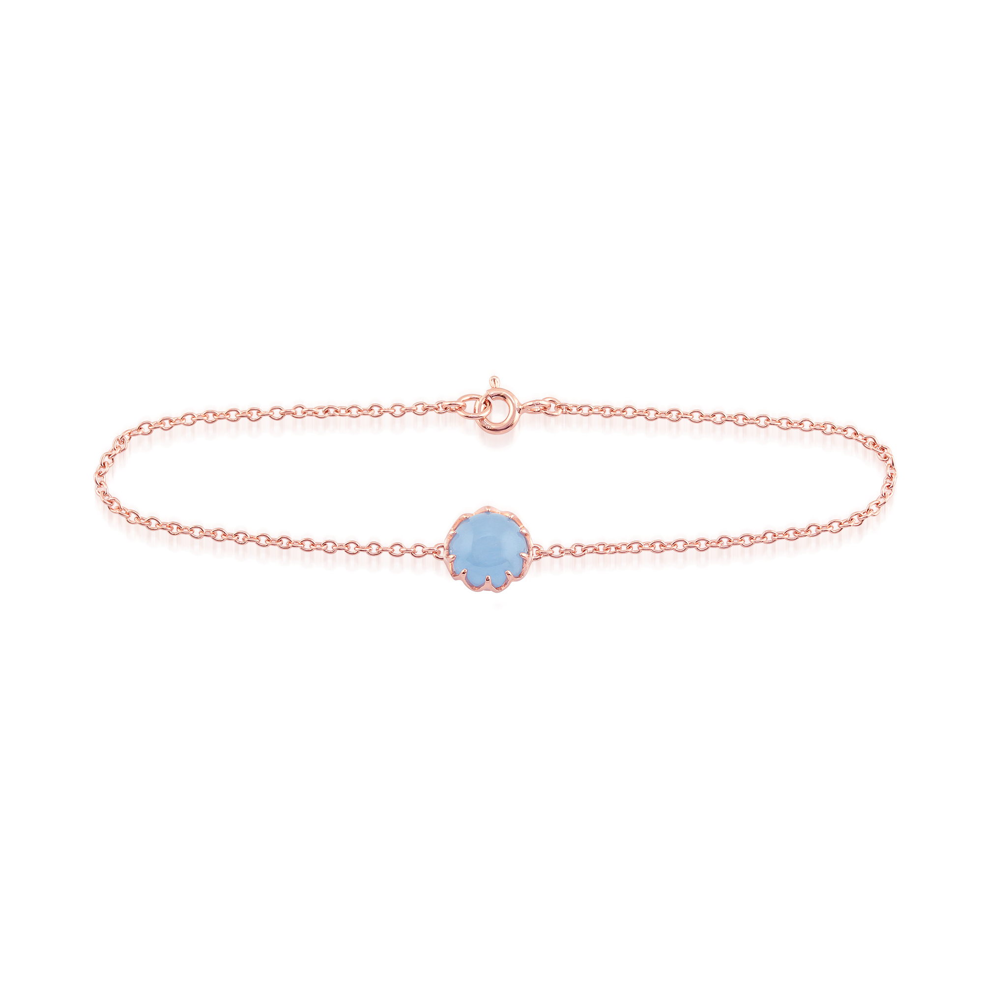 Blue Jade 'Calo' Pastel Bracelet in 9ct Rose Gold Plated Sterling Silver