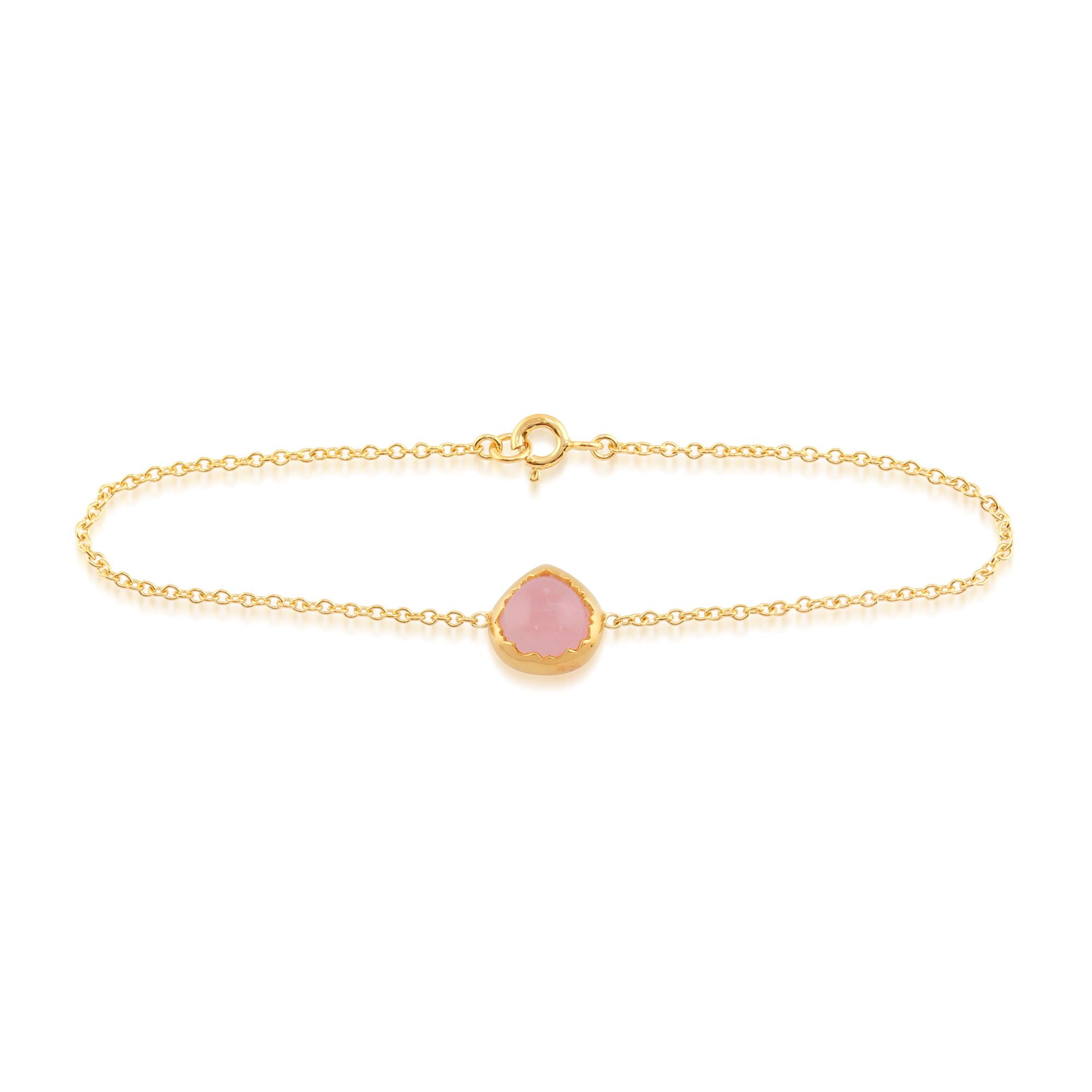Rose Quartz 'Diantha' Pastel Bracelet in 9ct Yellow Gold Plated Sterling Silver