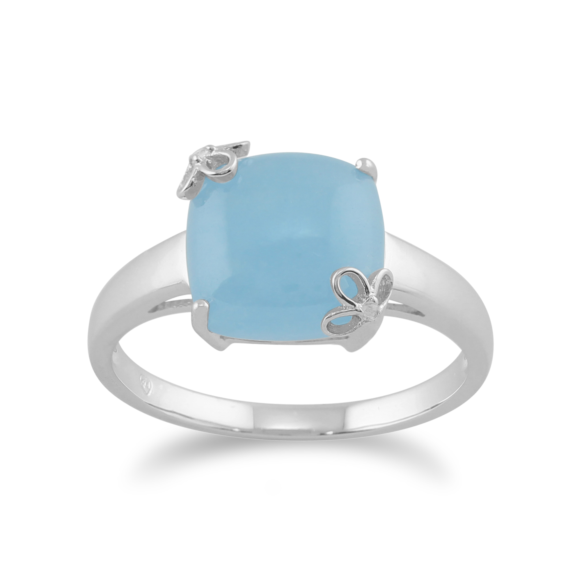 Gemondo 925 Sterling Silver 4.33ct Blue Jade & White Topaz Ring