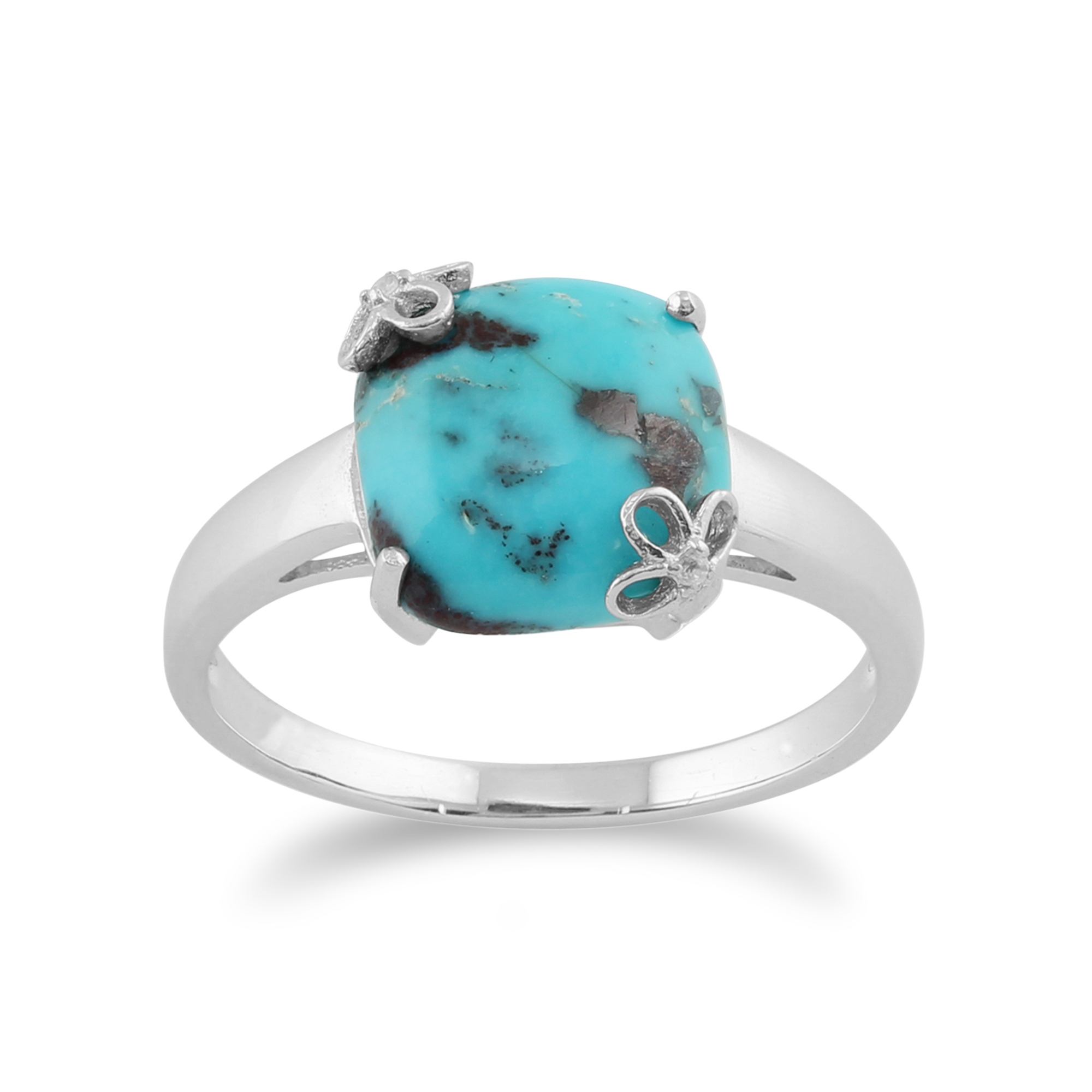 Gemondo 925 Sterling Silver 3ct Turquoise & White Topaz Ring