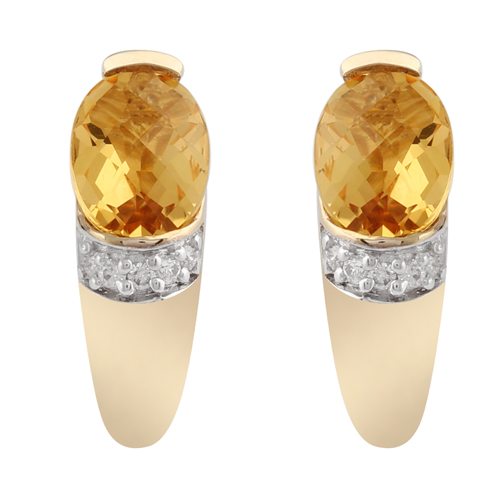 9ct Yellow Gold 1.26ct Citrine & Diamond Stud Earrings