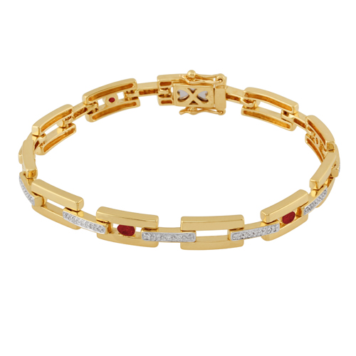 18ct Yellow Gold 0.78ct Ruby and Diamond 19cm Link Bracelet