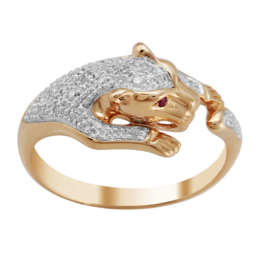 Gemondo 9ct Rose Gold 0.13ct Ruby & Diamond Panther Ring Size: O