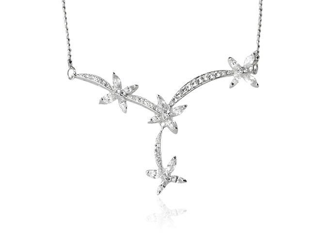 Silver Tone White Cubic Zirconia Elegant Design Necklace