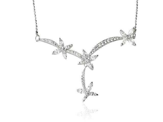 Silver Tone White Cubic Zirconia Elegant Design Necklace