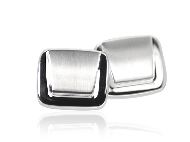 Silver Tone Plain Patterned Contemporary Cufflinks