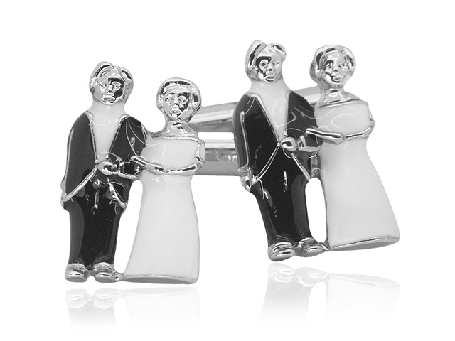 Silver Tone Bride & Groom Motif Design Cufflinks