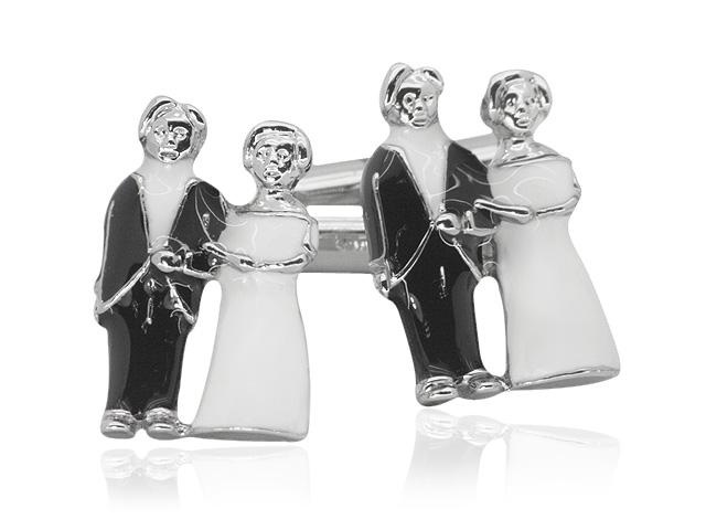 Silver Tone Bride & Groom Motif Design Cufflinks