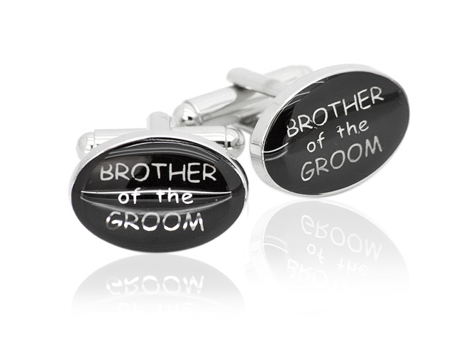 Silver Tone 'Brother of the Groom' Design Cufflinks