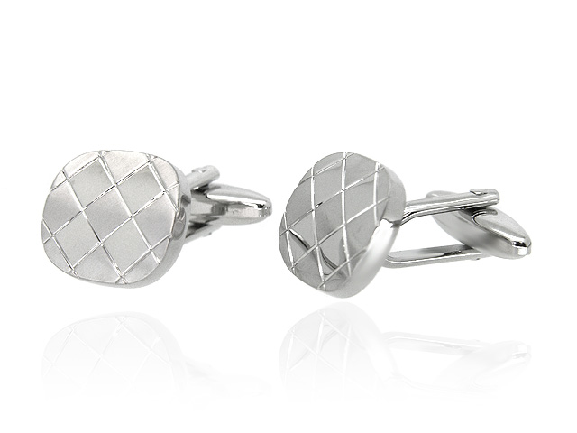 Silver Tone Patterned Cufflinks