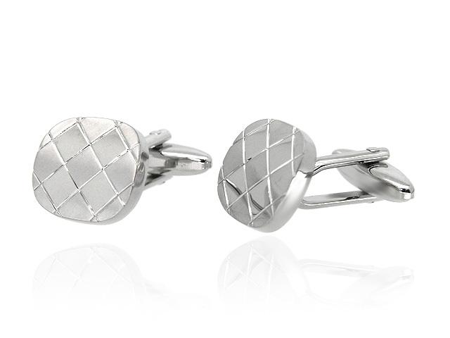 Silver Tone Patterned Cufflinks
