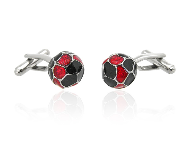 Silver Tone Football Men's Cufflinks
