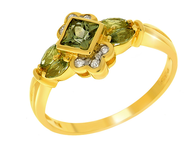 9ct Yellow Gold Green Sapphire & Diamond Ring Size: L