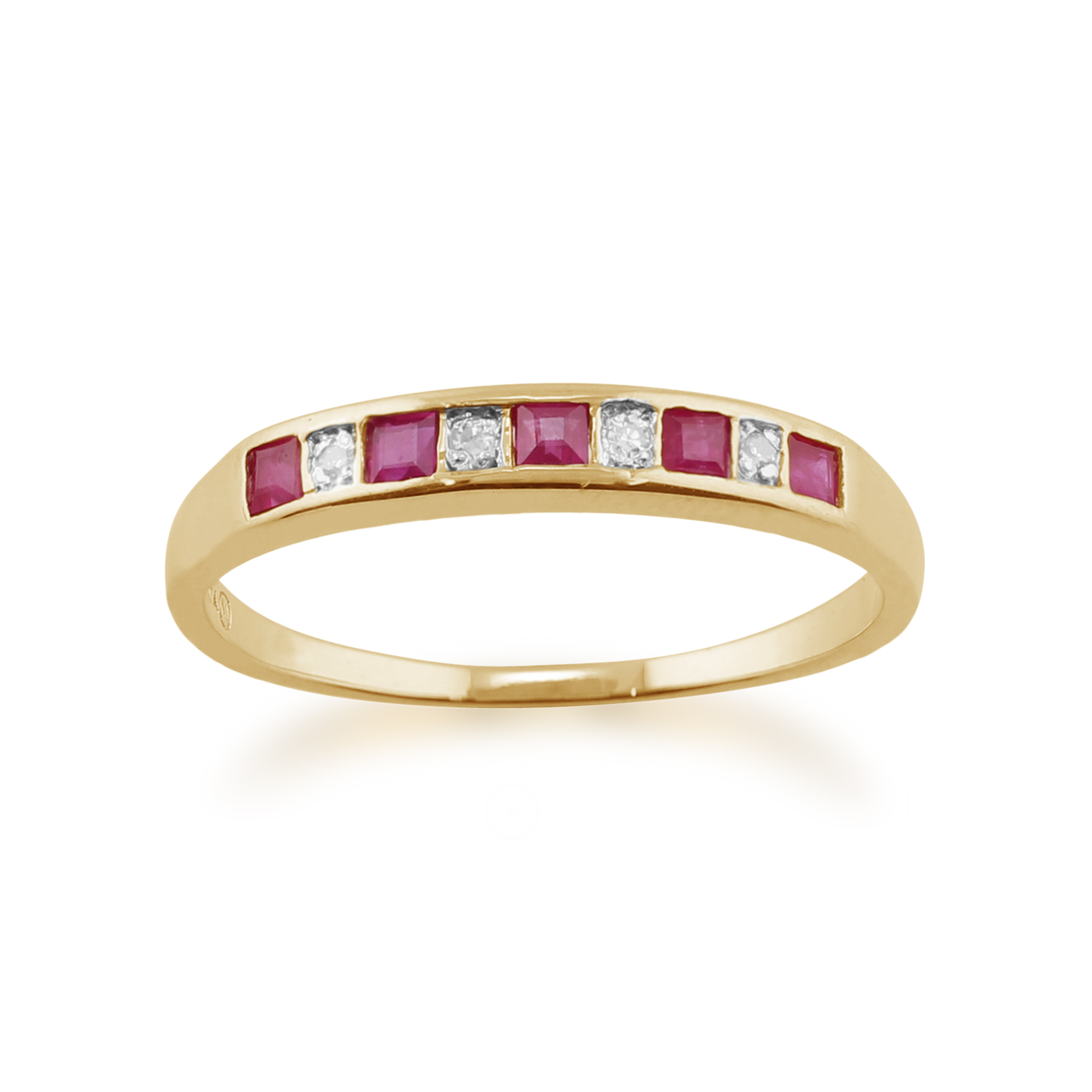 9ct Ruby and Diamond Yellow Gold Ring