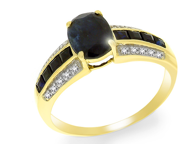 9ct Sapphire and Diamond Yellow Gold Ring