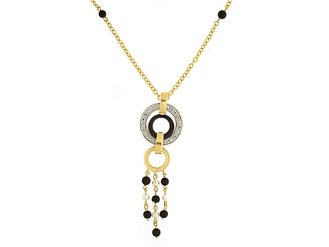 9ct Yellow Gold Onyx, Pearl