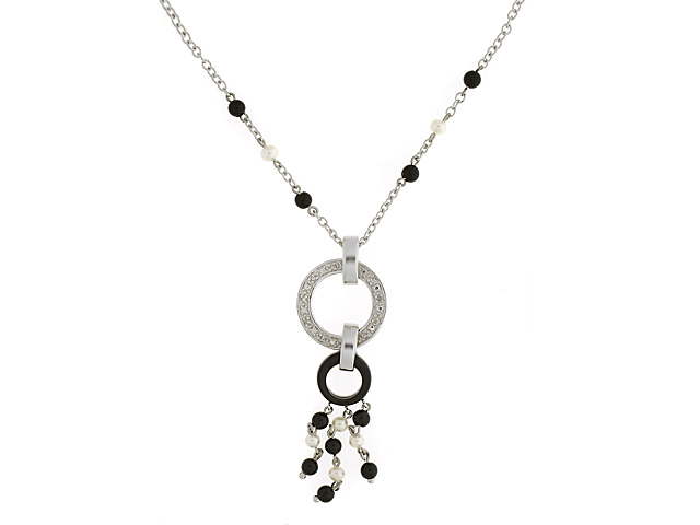 9ct White Gold Black Onyx Pearl