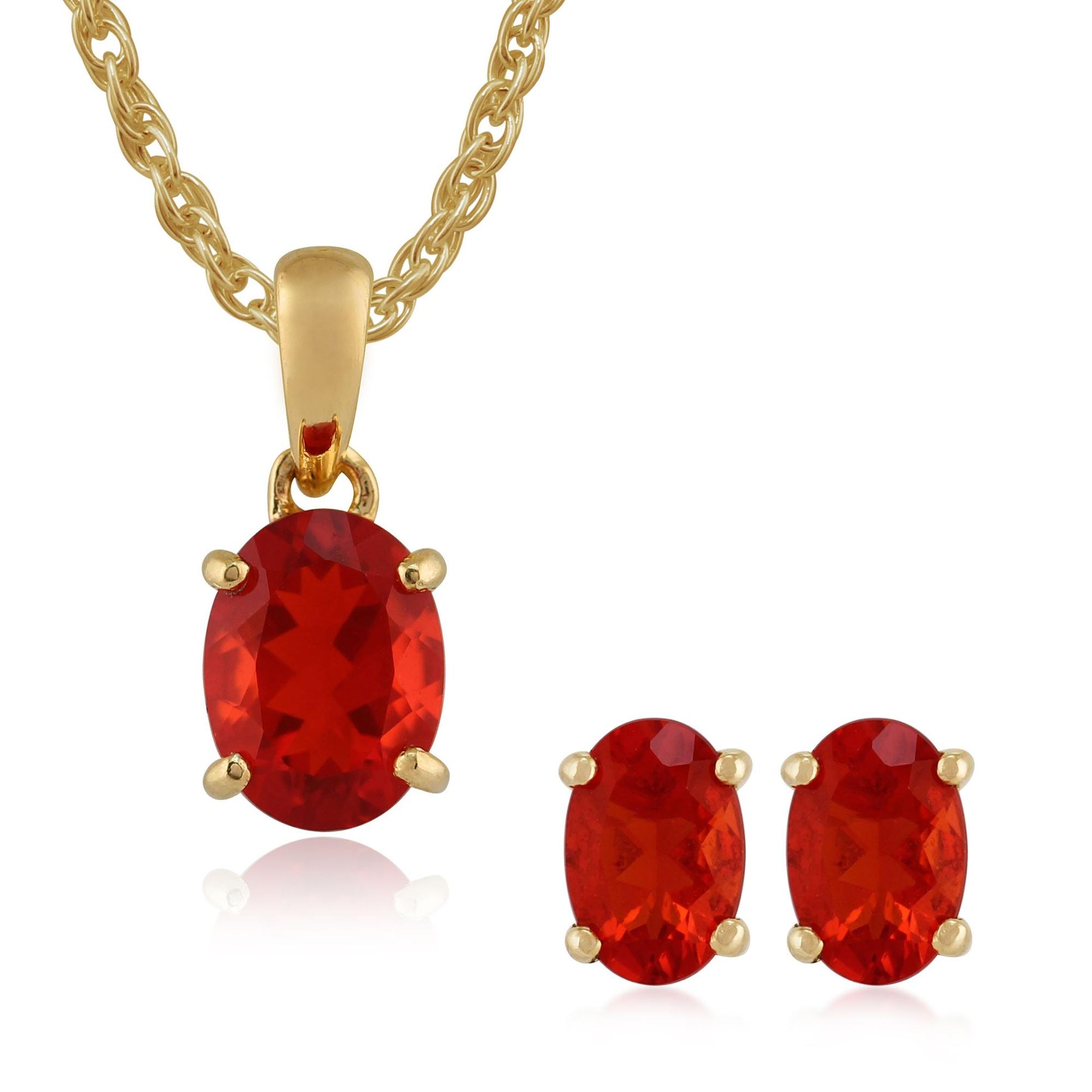 Gemondo 9ct Yellow Gold Fire Opal Oval Stud Earrings & 45cm Necklace Set
