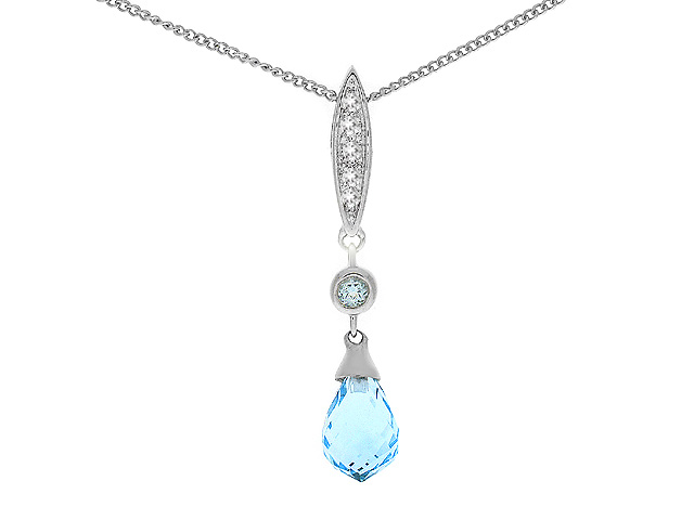 9ct White Gold Blue Topaz