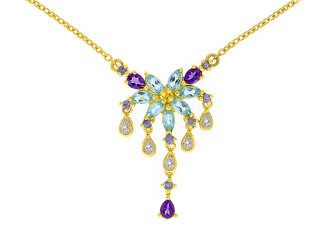 9ct Yellow Gold Multi Gem Stone Necklace