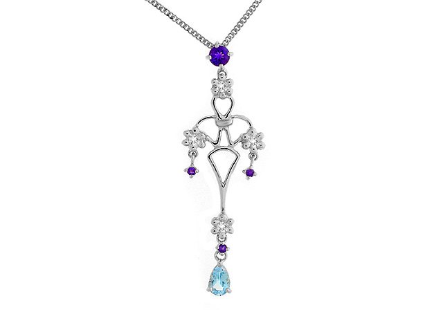 9ct White Gold Multi Gem Stone Necklace