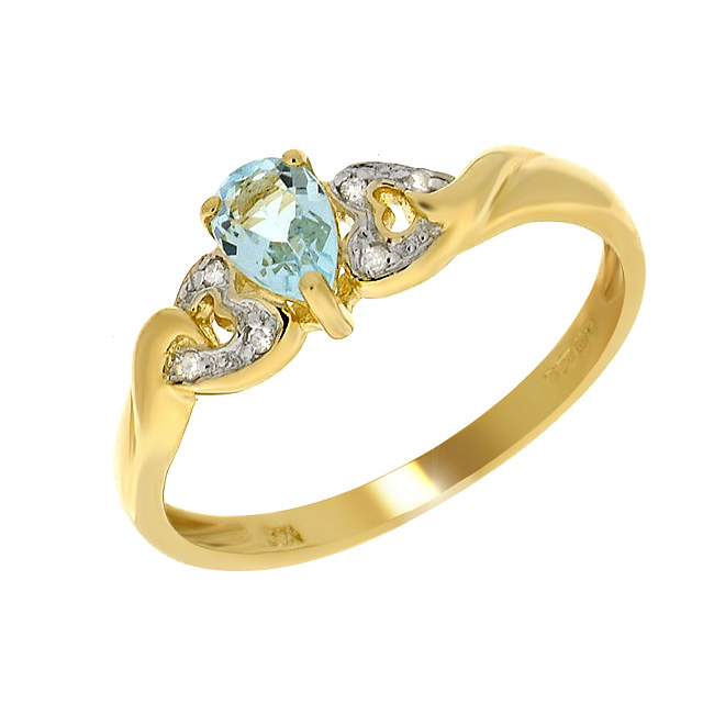 9ct Yellow Gold 0.46ct Blue Topaz & Diamond Single Stone Heart Ring Size: G