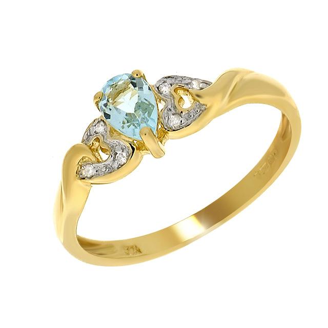 9ct Yellow Gold 0.46ct Blue Topaz & Diamond Single Stone Heart Ring Size: G