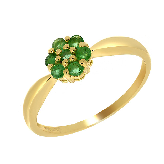 9ct Yellow Gold Emerald Flower Ring
