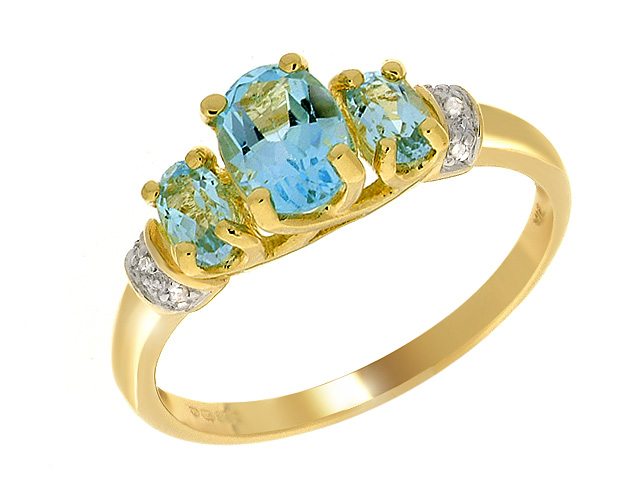 9ct Yellow Gold Blue Topaz Cocktaill Ring